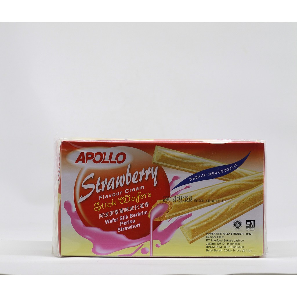 Apollo Strawberry Wafer Stick 24 X 11Gr