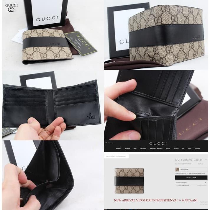 Box + Dompet Cowok Pendek Gucci Bi-Fold Supreme GG Print Tiger Macan KULIT  ASLI - ORI LEATHER  1099c760a6