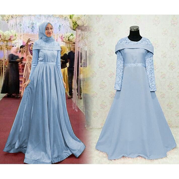 Gl119 Baju Gamis Gaun Pesta Muslim Remaja Gamis Wisuda Brokat Kombinasi Polos Sarina Warna Biru Muda