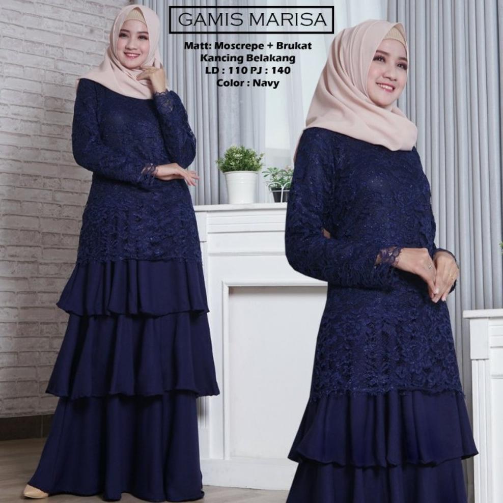 Terbaru gamis brokat lapis furing. gamis pesta. dress muslim warna biru  dongker