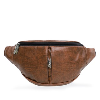 Woodbags Full Leather Waistbag Premium Quality - Chocolate Brown ( sling bag )