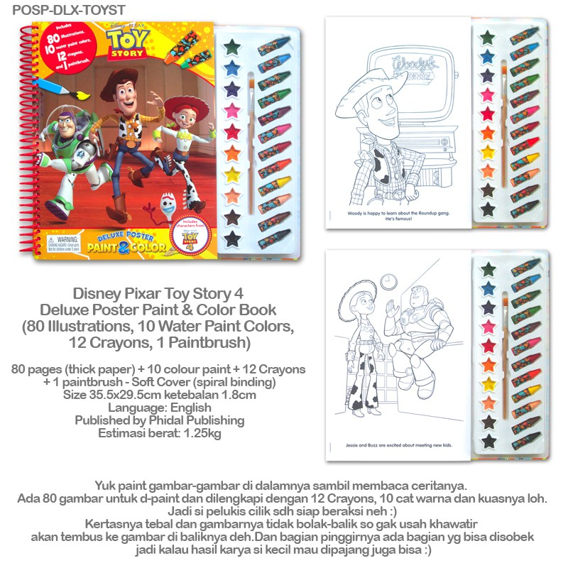 Disney Pixar Toy Story 4 Deluxe Poster Paint Color Book Shopee