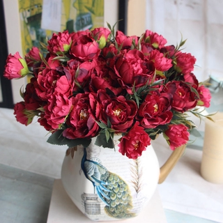 8 kepala bunga peony buket dekorasi artifisial flowers