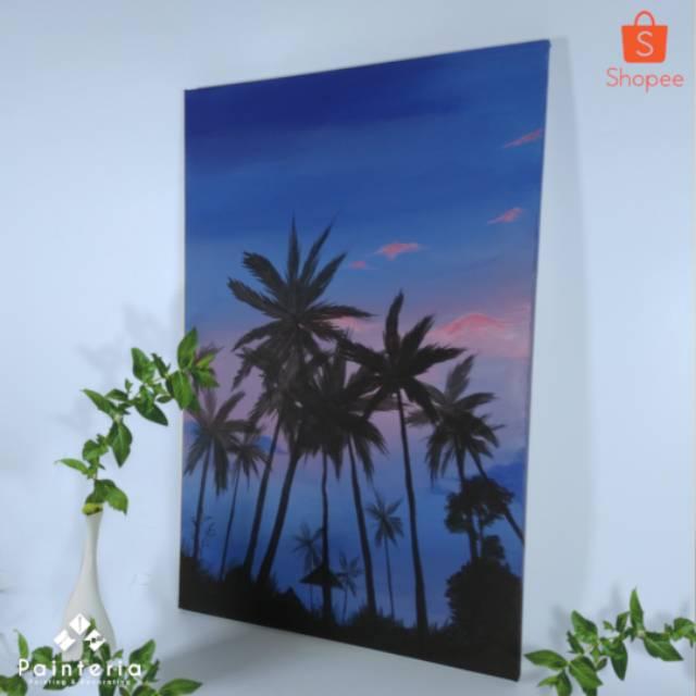 Lukisan Pemandangan Alam Pantai Sunset Senja Silluate Siluate