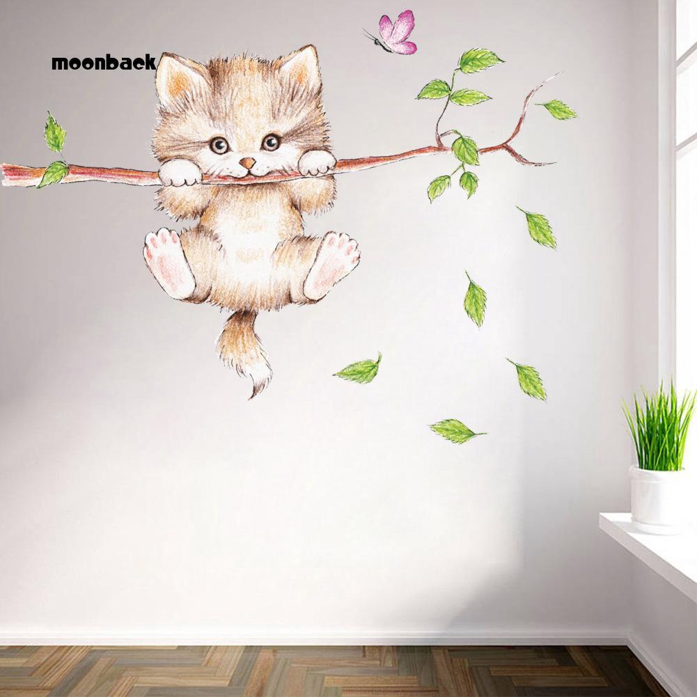 Stiker Dinding Desain Kartun Kucing Lucu Bahan PVC Untuk Kamar Anak