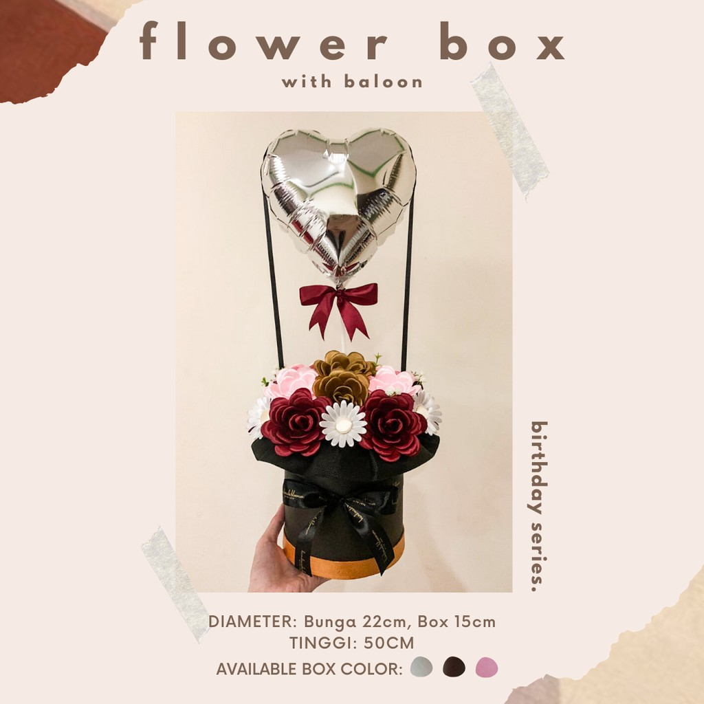 Po 2 3 Hari Buket Bunga Balon Ucapan Flower Box Dengan Greetings Baloon Bloom Box Balloon Shopee Indonesia
