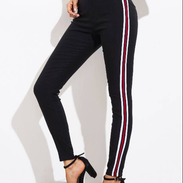 Legging Panjang Legging Katun Legging Stripe Legging Strip Celana Wanita Cana Panjang Shopee Indonesia
