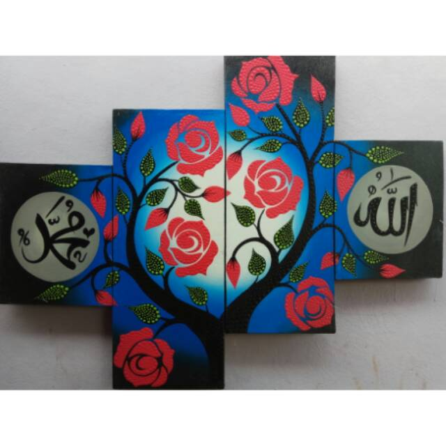 Lukisan Kaligrafi Bunga Mawar Merah Biru