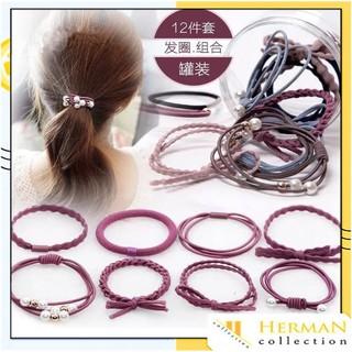 HC Ikat Rambut Simple Bahan Karet Gaya Korea untuk Wanita kemasan tabung isi 12pcs Impor thumbnail