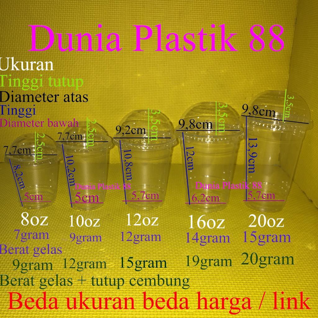 isi50pcs GELAS cup plastik BENING PET 8oz 10oz 12oz 16oz 20oz + TUTUP CEMBUNG tebal dome lid | Shopee Indonesia