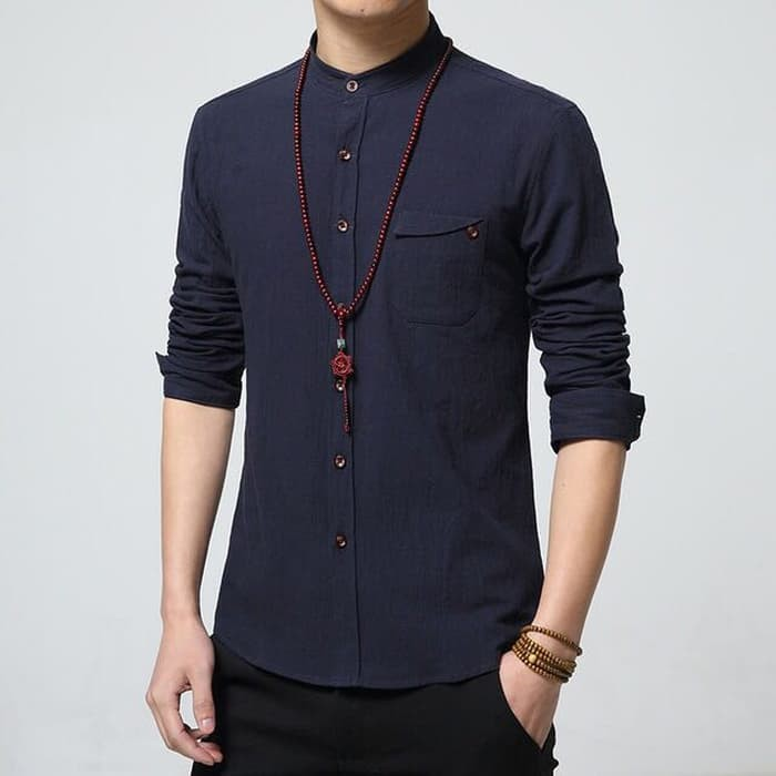 PROMO [Koko zyan dongker OT] baju koko katun stretch navy - Navy BEST SELLER