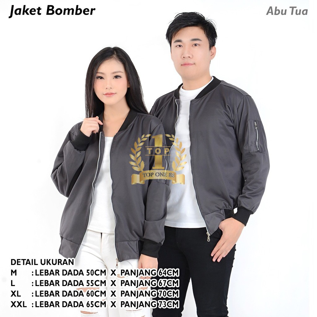 Jaket Bomber Unisex Abu Tua Shopee Indonesia Cottonology Brown Large