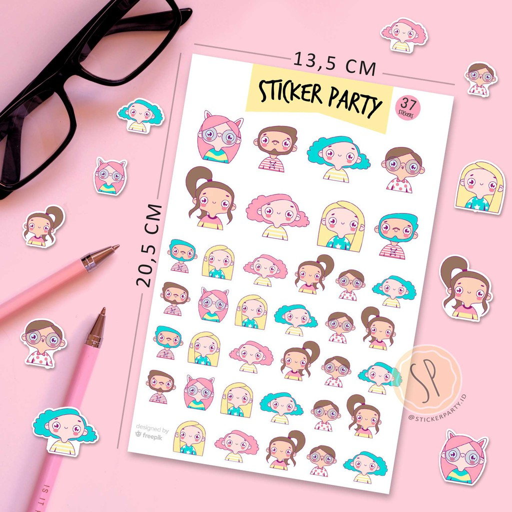[StickerParty] Sticker Orang Imut Lucu Kartun Stickers Cute Cartoon People DIY Journal Bujo Planner