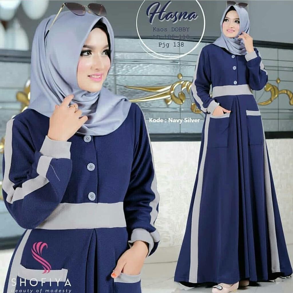 Mariana Polka Dress Muslim Maxi Baju Gamis Wanita Murah Shopee