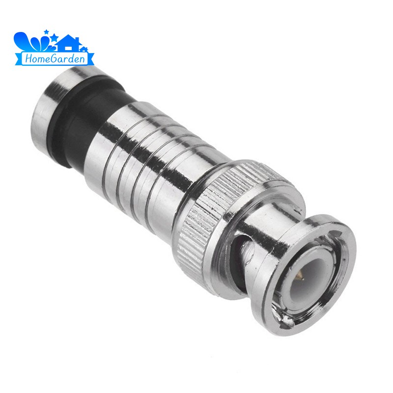 100 BNC Male Compression Connector RG59 Security Coaxial Cable CCTV Camera DVR 1