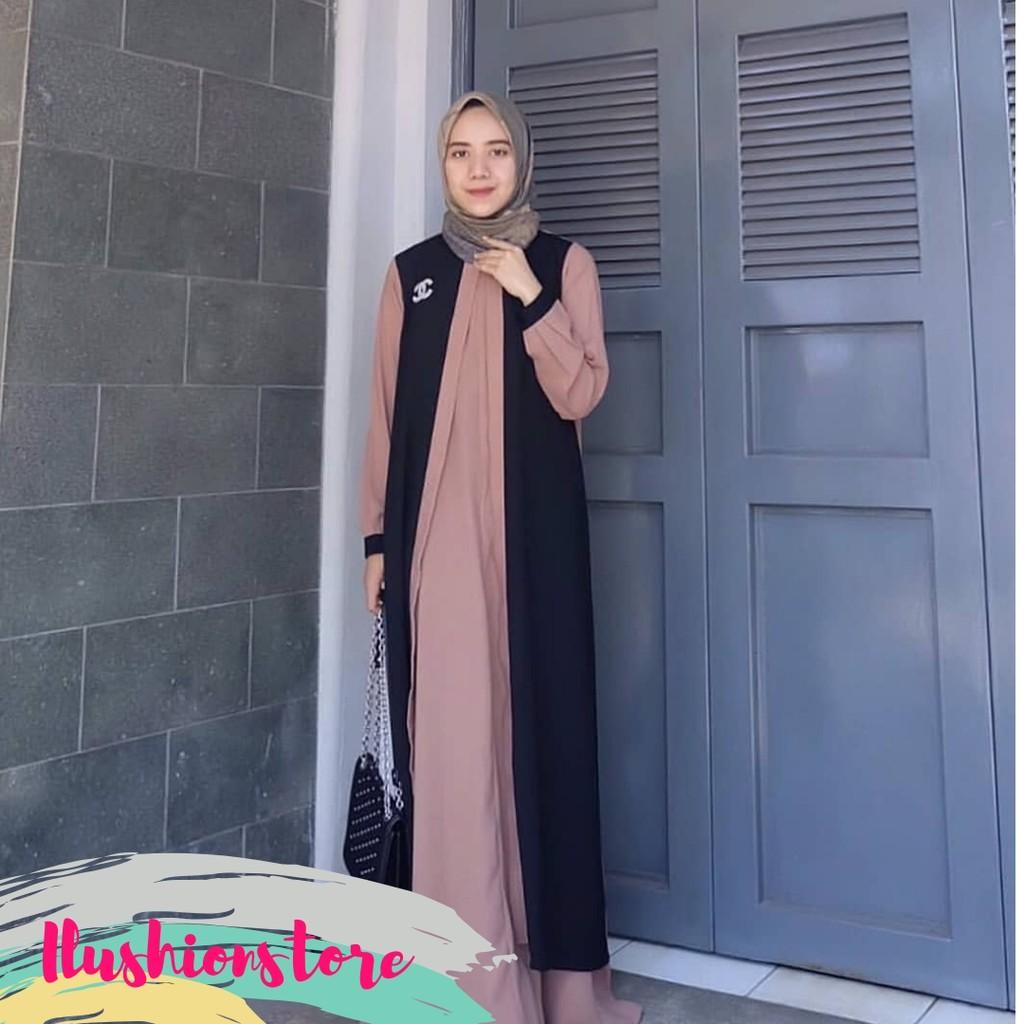 Gamis Sari Arizha Maxi Dress Muslim Gamis Wanita Simpel gamis Harian Gamis  Moscrepe Gamis 8