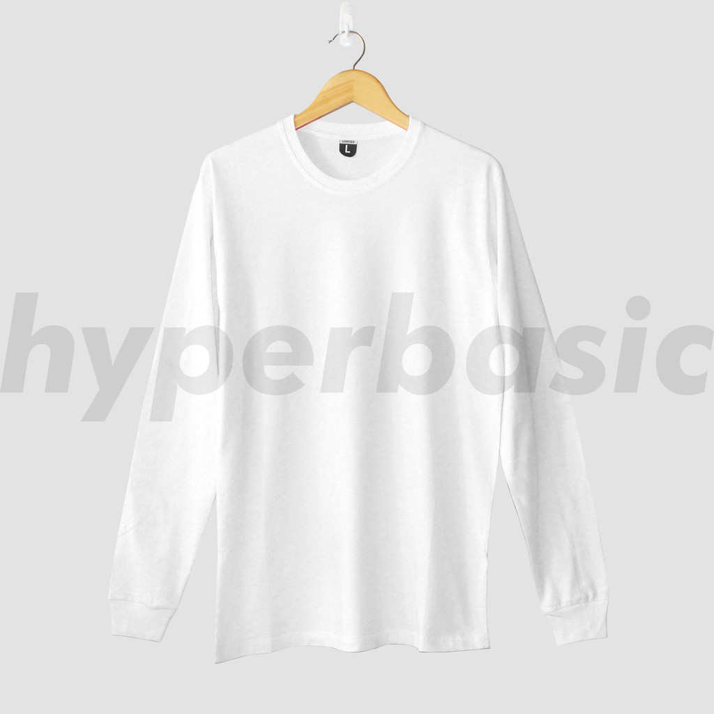 Kaos Polos Baju Oblong Lengan Panjang Putih Bright White Unisex Pria Wanita Dewasa Orginal Premium Shopee Indonesia