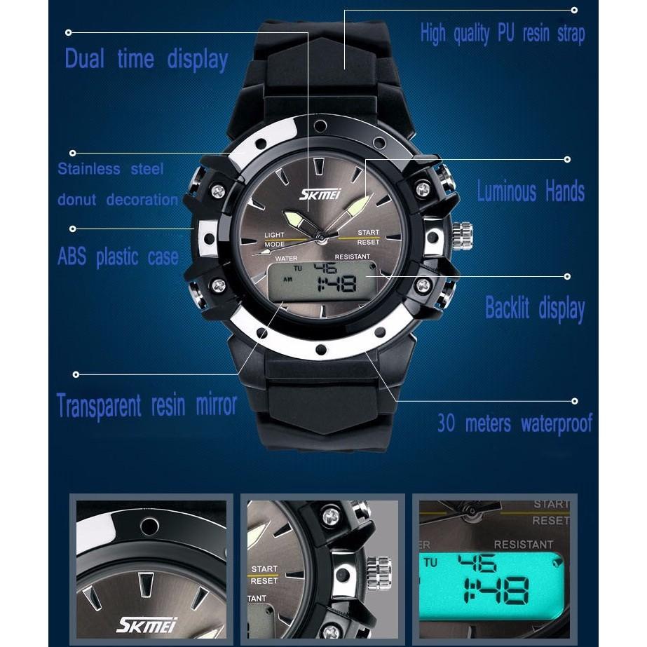 Jam Tangan Pria Wanita Skmei Analog Dan Digital Led Waterproof (Menyala Dalam Gelap) |