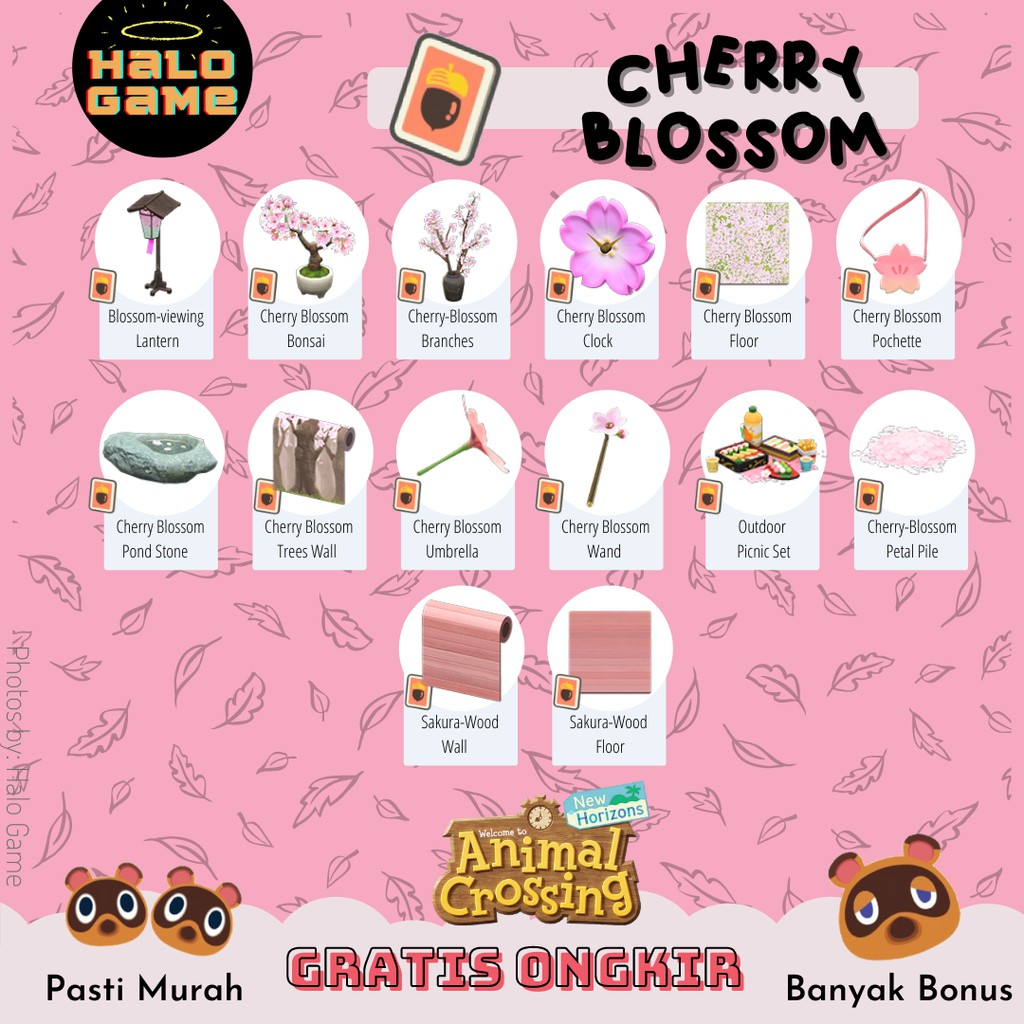 Cherry Blossom Diy Animal Crossing New Horizon Acnh Bells Item Material Nmt Diy Shopee Indonesia