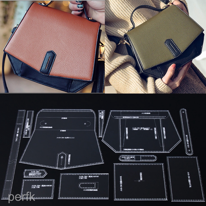 9pcs Leather Craft Acrylic Perspex Long Wallet Pattern Stencil Template Tool Set