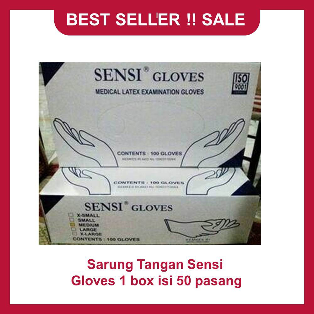 Sensi Sarung Tangan Gloves Promo Karet Handscoon Latex Dokter Seller Shopee Indonesia