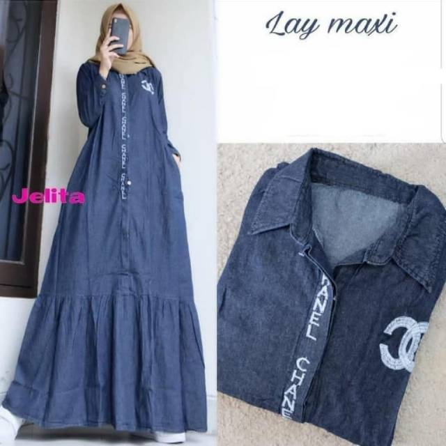 Lay Maxy Jeans Import Aplikasi Bordir Busana Muslim Muslim Trendy Wd Shopee Indonesia