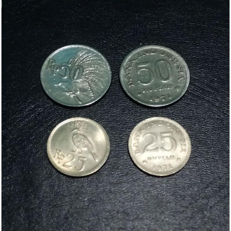 (MURAH) uang koin 25 rupiah 1971 dan 50 rupiah 1971 nikel