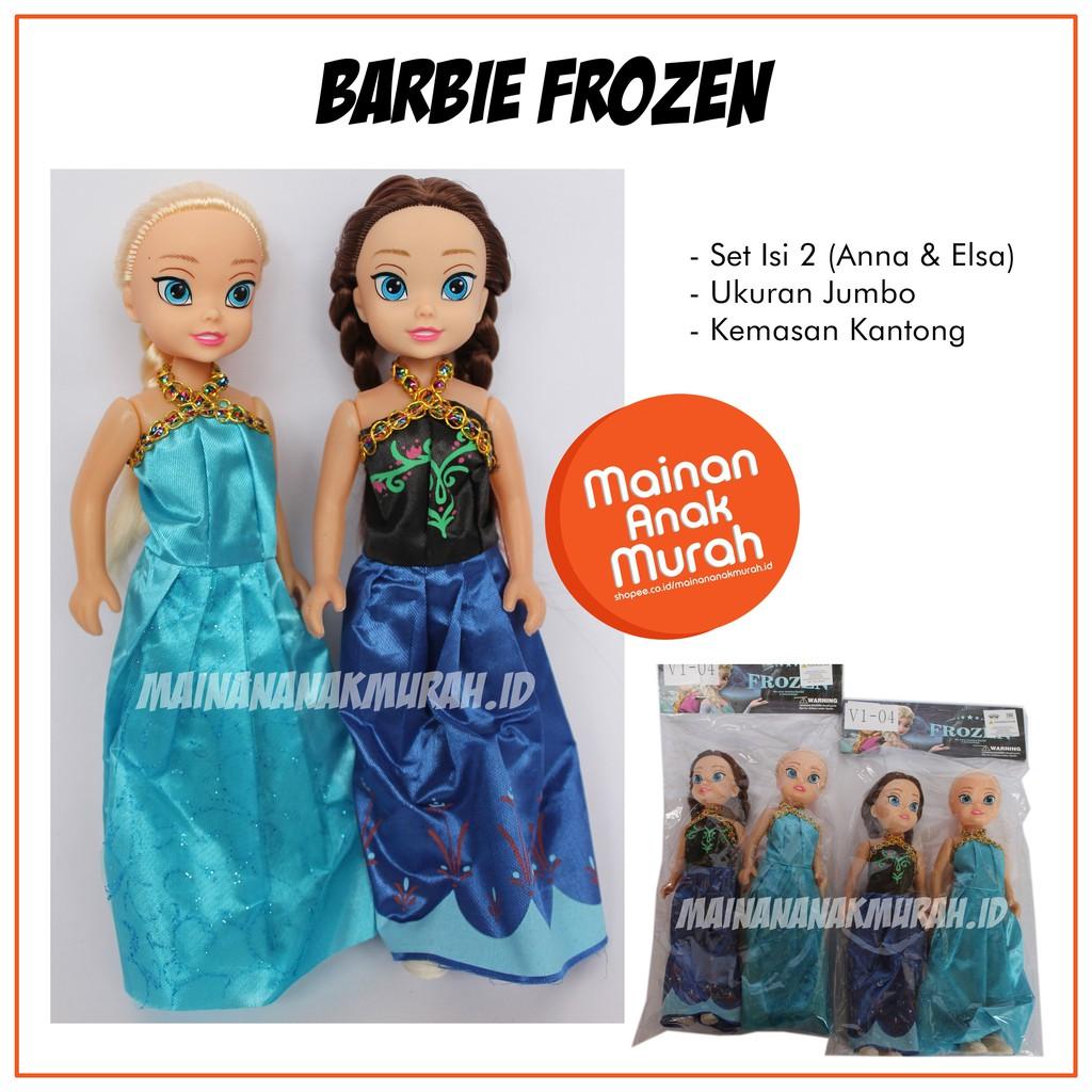 Mainan Boneka Barbie Karakter Disney Frozen Anna Elsa Ukuran Jumbo Set Shopee Indonesia