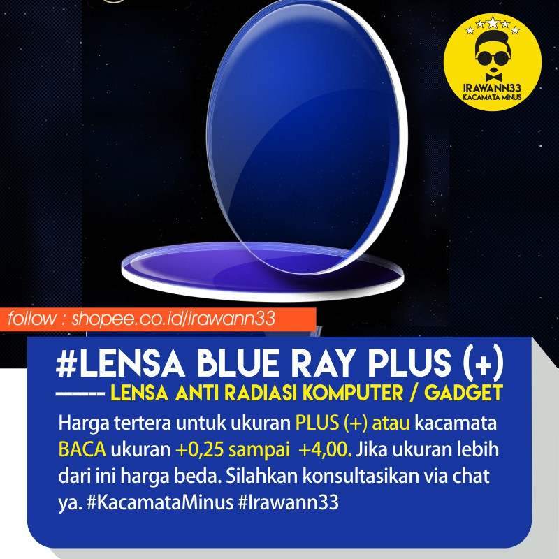 LENSA ANTI UV ~ Lensa BLUE RAY PLUS   BACA   Anti Radiasi Komputer untuk  +0 ae5cf16202