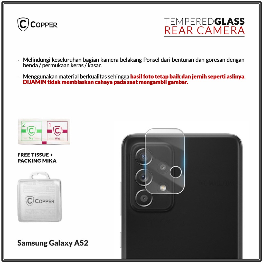 Samsung A52 - COPPER Tempered Glass Kamera