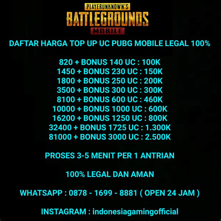 Top Up 1450 230 Uc Pubg Mobile Legal 100 Shopee Indonesia