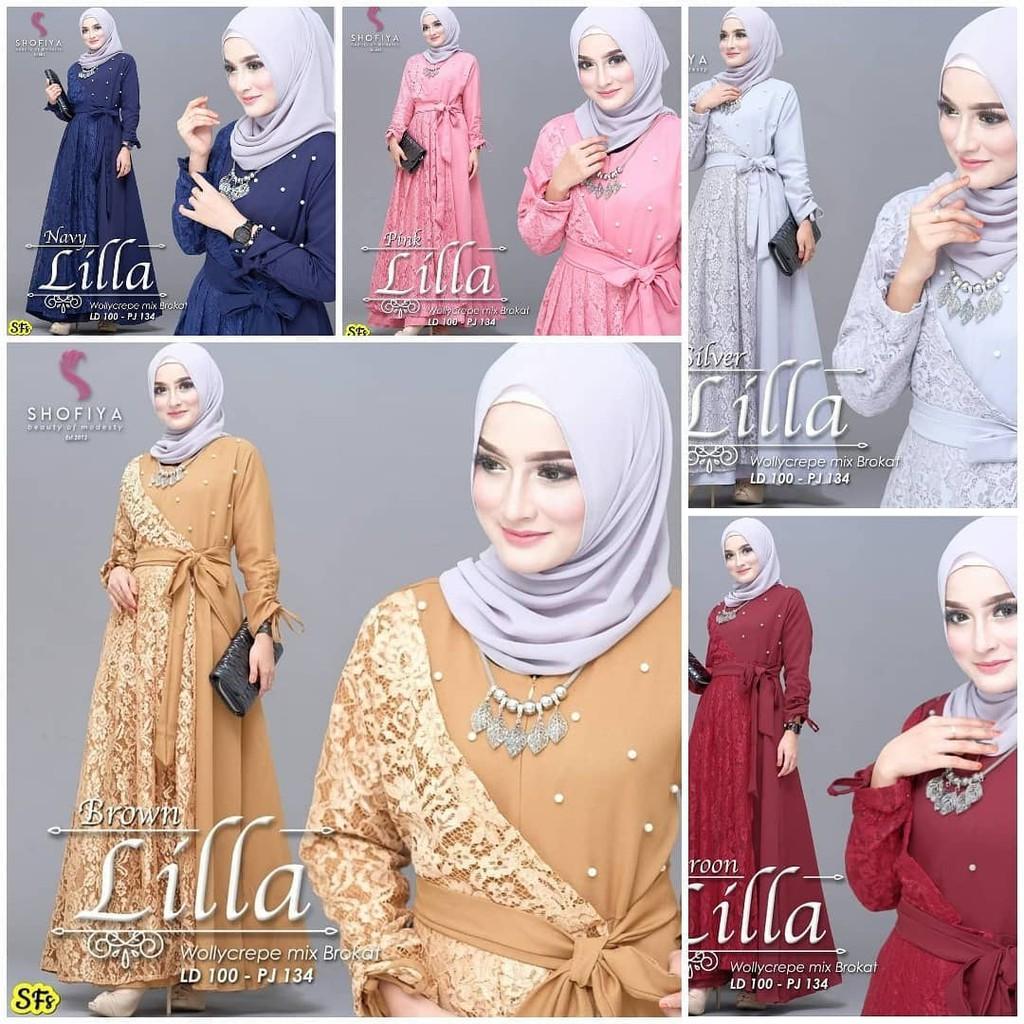 Lilla Maxy Dress Gamis Muslimah Brukat Busui Model Terbaru Shopee Indonesia