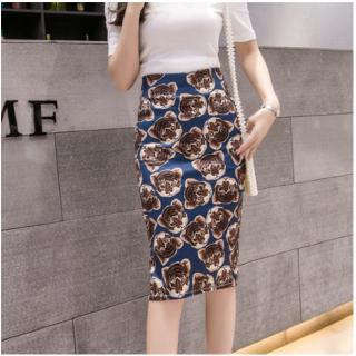 Korean Style Spring Summer Sexy Women Tight Skirt Elegant Slim Printed Knee Wrap Bodycon Split Midi Pencil Skirts Shopee Indonesia