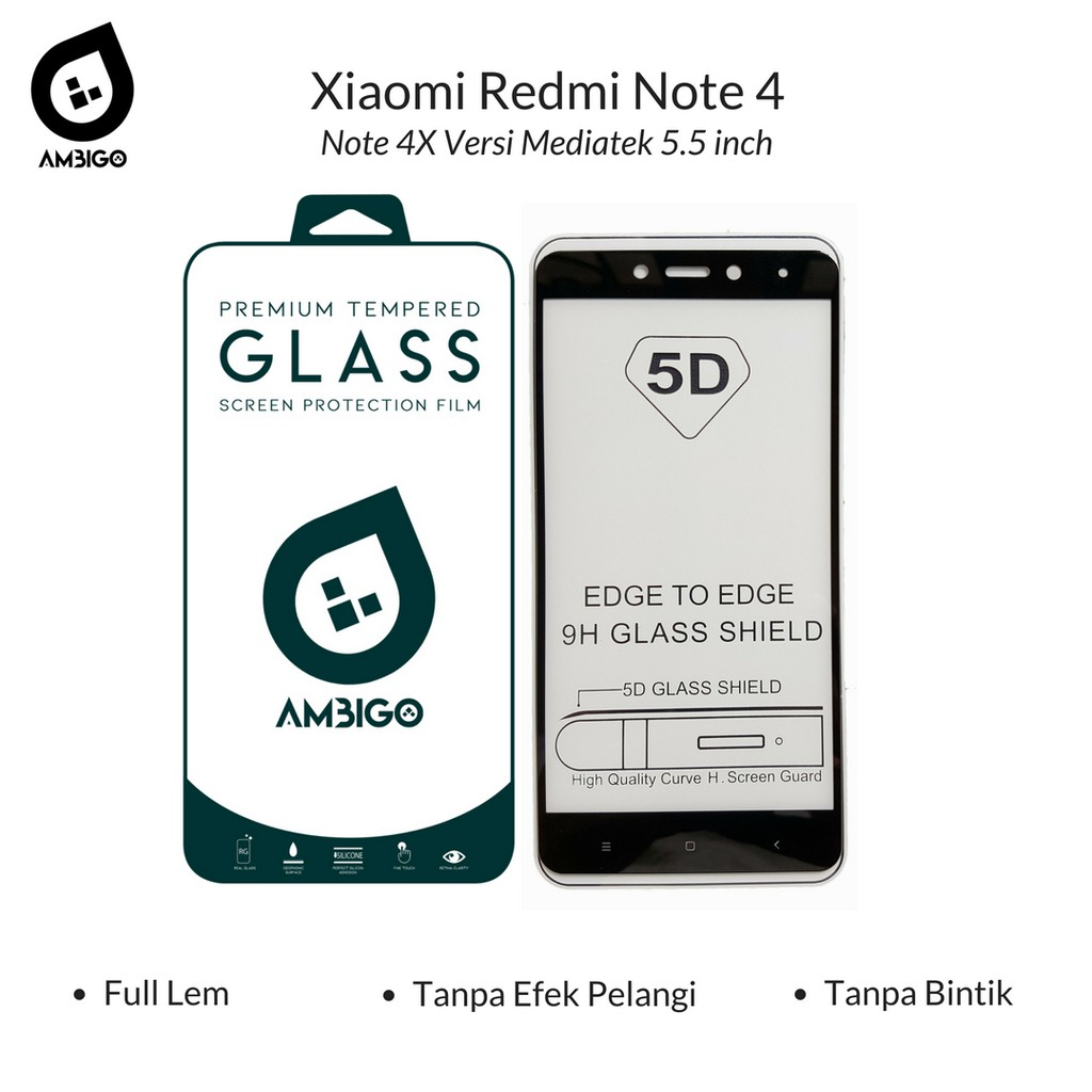 Tempered Warna Xiaomi Redmi Note 4 Daftar Harga Terkini Terlengkap X2 Glass Screen Guard Kaca Colour Original Ambigo 5d Full Cover For