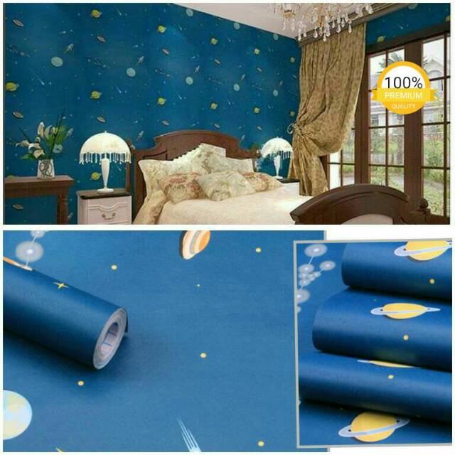Wallpaper Dinding Kamar Anak Plapon Termurah Planet Ufo Biru Bagus