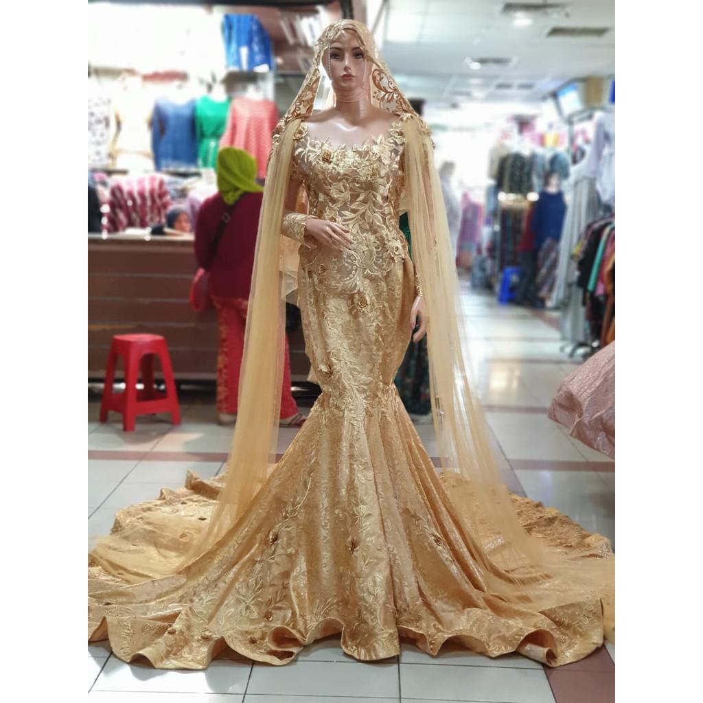 Gaun kebaya pengantin model Duyung Jaguard 11D non payet warna Gold/ Emas