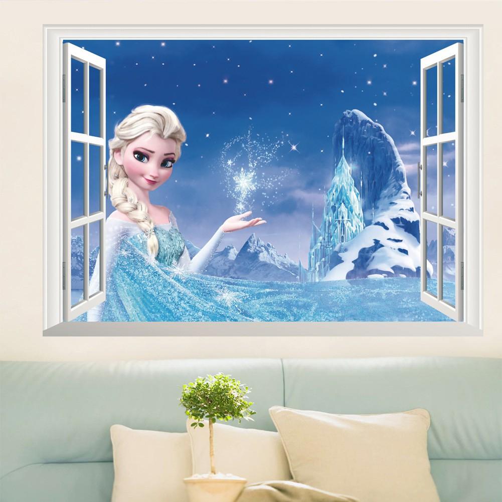 Stiker Dinding Gambar Princess Disney Elsa Frozen 3D