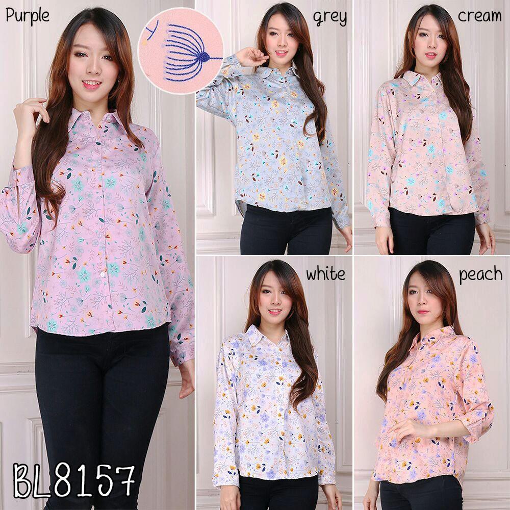 Baju atasan blouse lengan pendek kerja kantor hitam putih casual top  fashion cewek wanita murah 8555  b4c57feaef