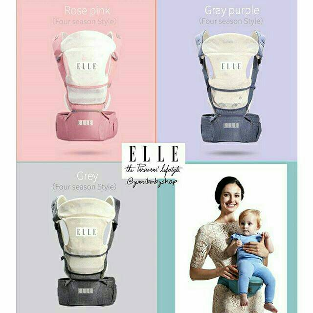 140c44d80b6 Elle ULTIMATE 9 in 1 Hipseat Carrier - Blue   Grey   Khaki   Pink - Baby  Carrier - Gendongan Bayi
