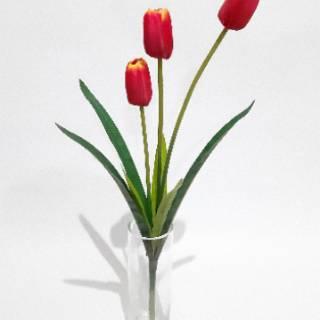 bunga tulip k3 daun imitasi bunga plastik b8059 dekorasi