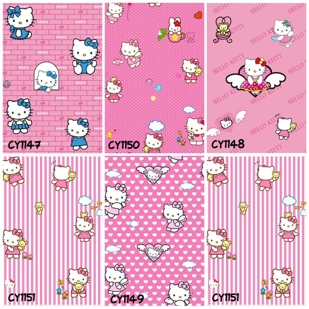 COD WALLPAPER STICKER DINDING MOTIF HELLOKITTY DORAEMON CY 45CMX10M LANGSUNG TEMPEL WALLSTICKER