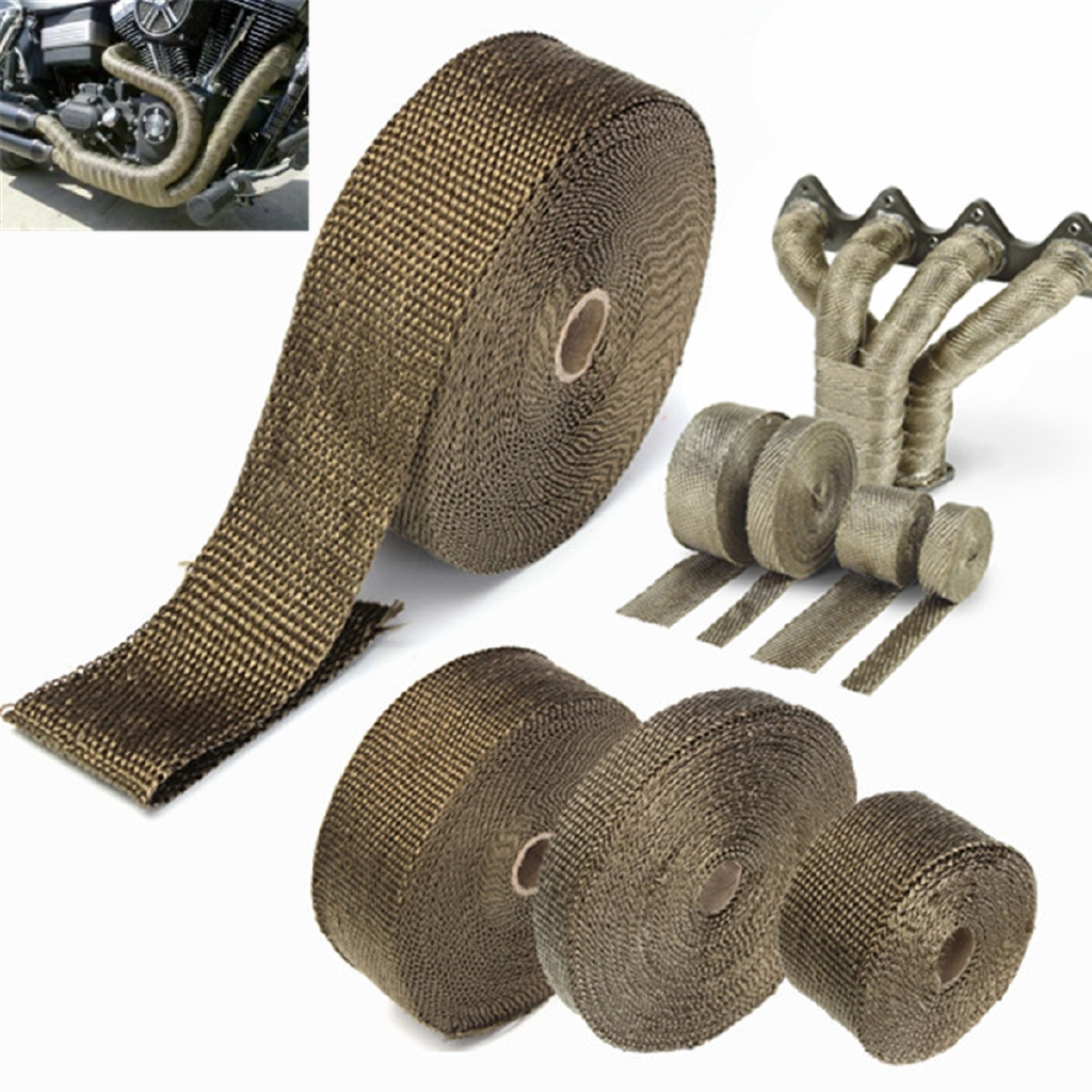 Exhaust Heat Wrap >> 5m Titanium Exhaust Heat Wrap Roll Cable Pipe Tape With 6 Stainless Ties Kit