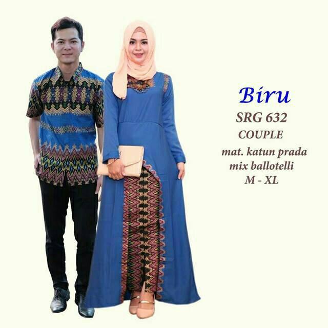 Couple batik sarimbit gamis baju pesta pasangan seragam SRG 376-2 ... 45cb187812