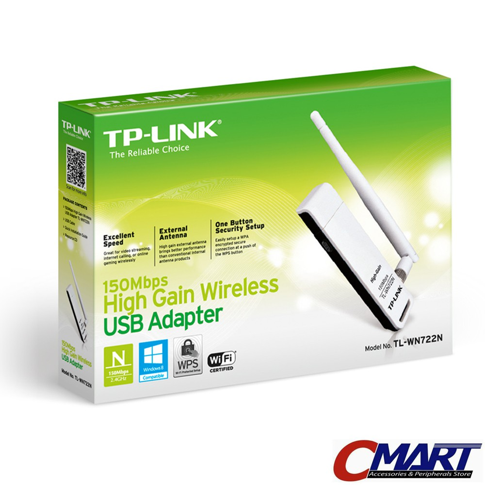 TP-LINK TL-WN722N : TPLink 150Mbps High Gain WiFi Wireless USB Adapter | Shopee Indonesia