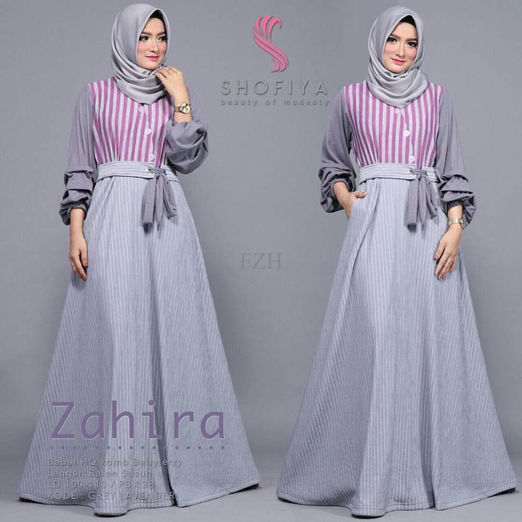 Pakaian Murah Wanita / Zahira Dress Grey / Grosir Baju Muslim Gamis Maxi Dress Syari   Shopee Indonesia