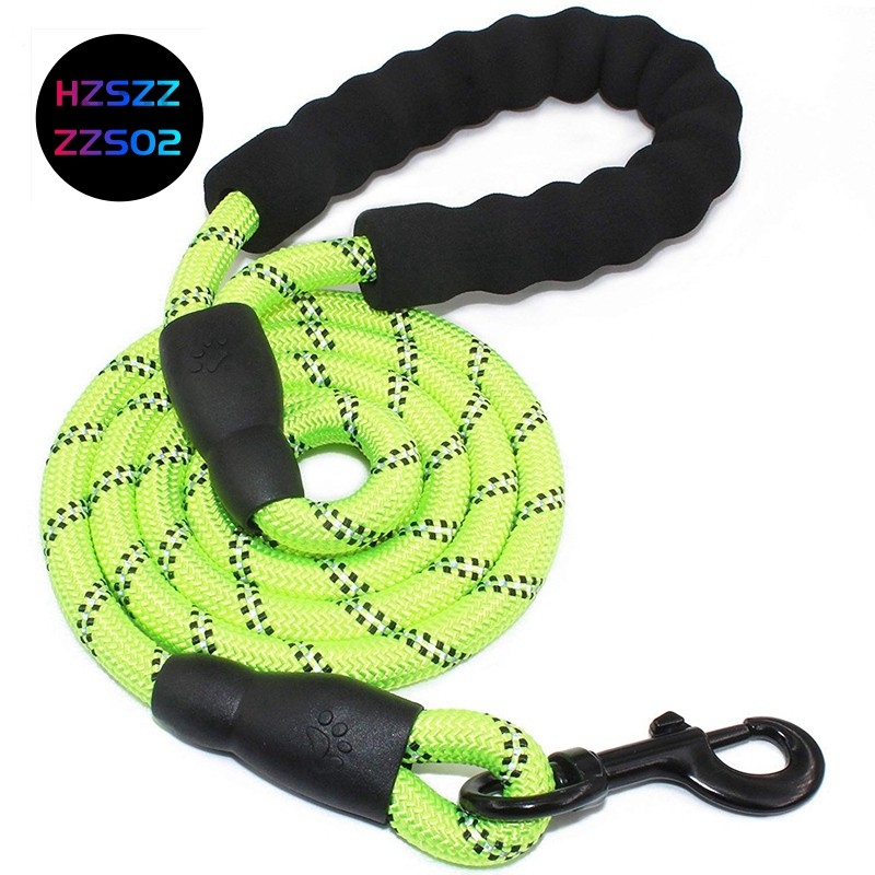 5 FT Strong Dog Rope Leash Lead Training Padded Handle Reflective Threaded Nylon