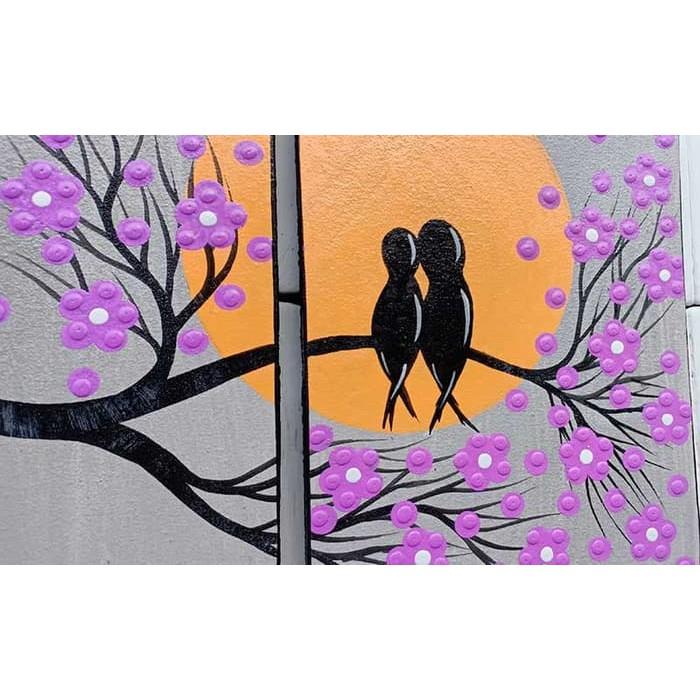 Lukisan Dinding Dekoratif Ungu Motif Burung Hantu Dan Bulan