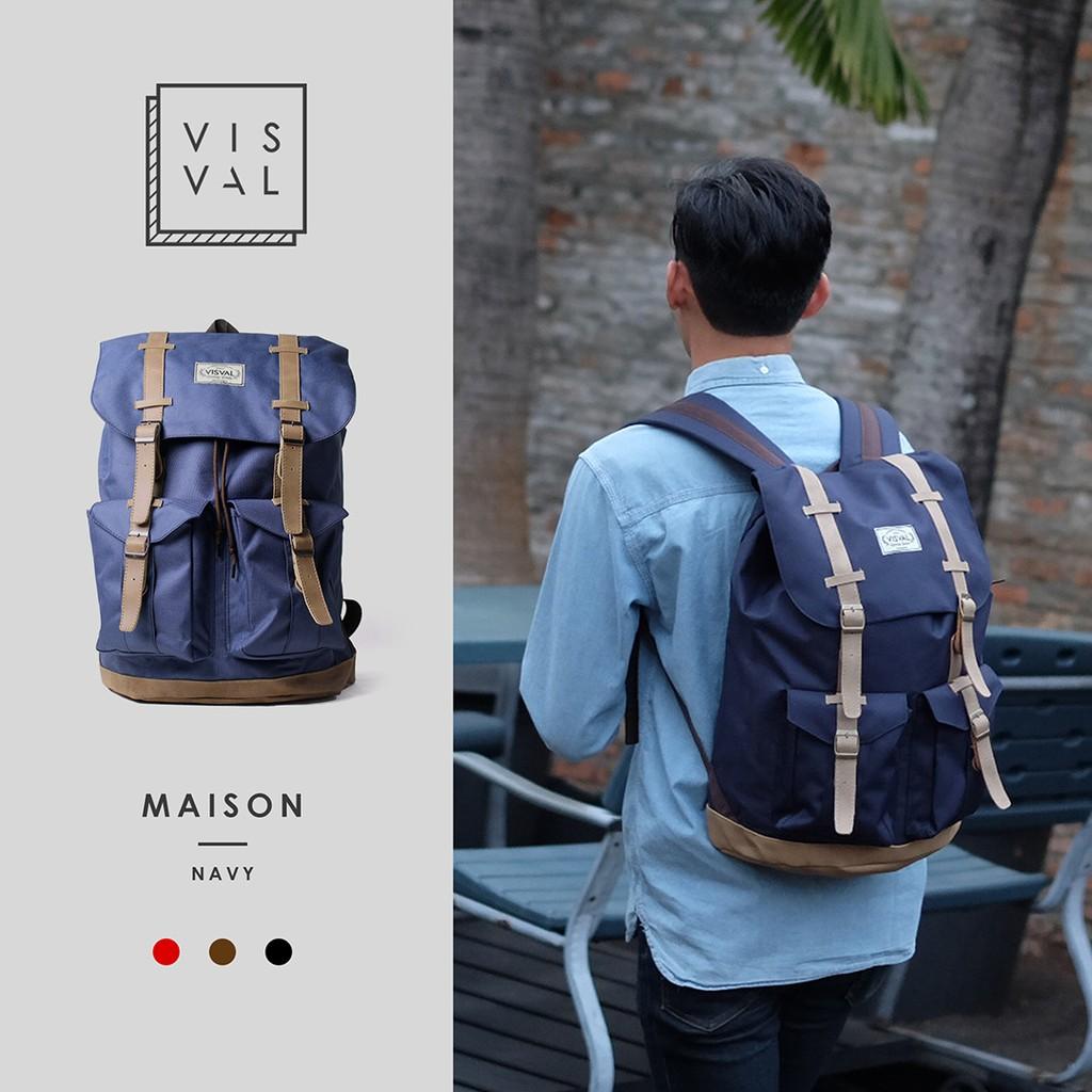 Tas Ransel Laptop   Backpack Vintage Visval Rave Black  75e2e814ff