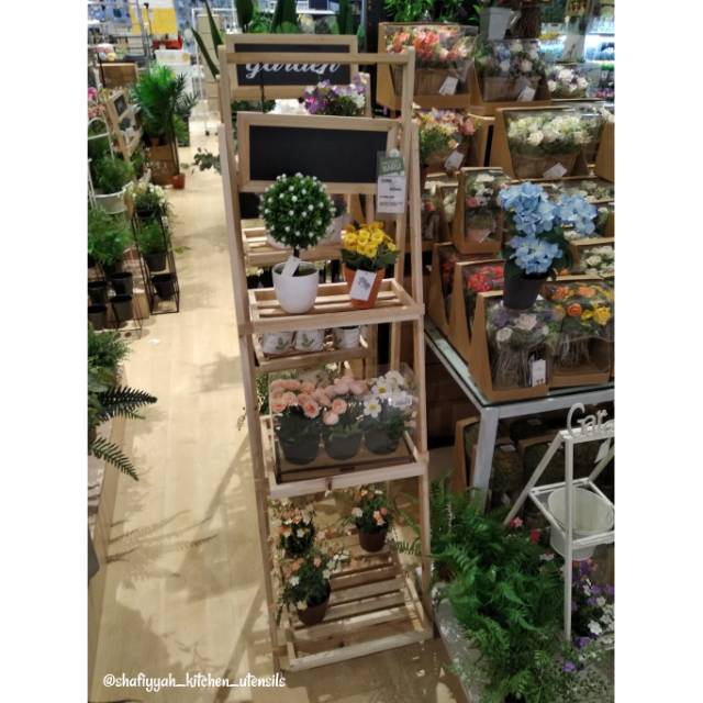 Wooden Flower Stand Rak Stand Tanaman 3 Tingkat Shopee Indonesia