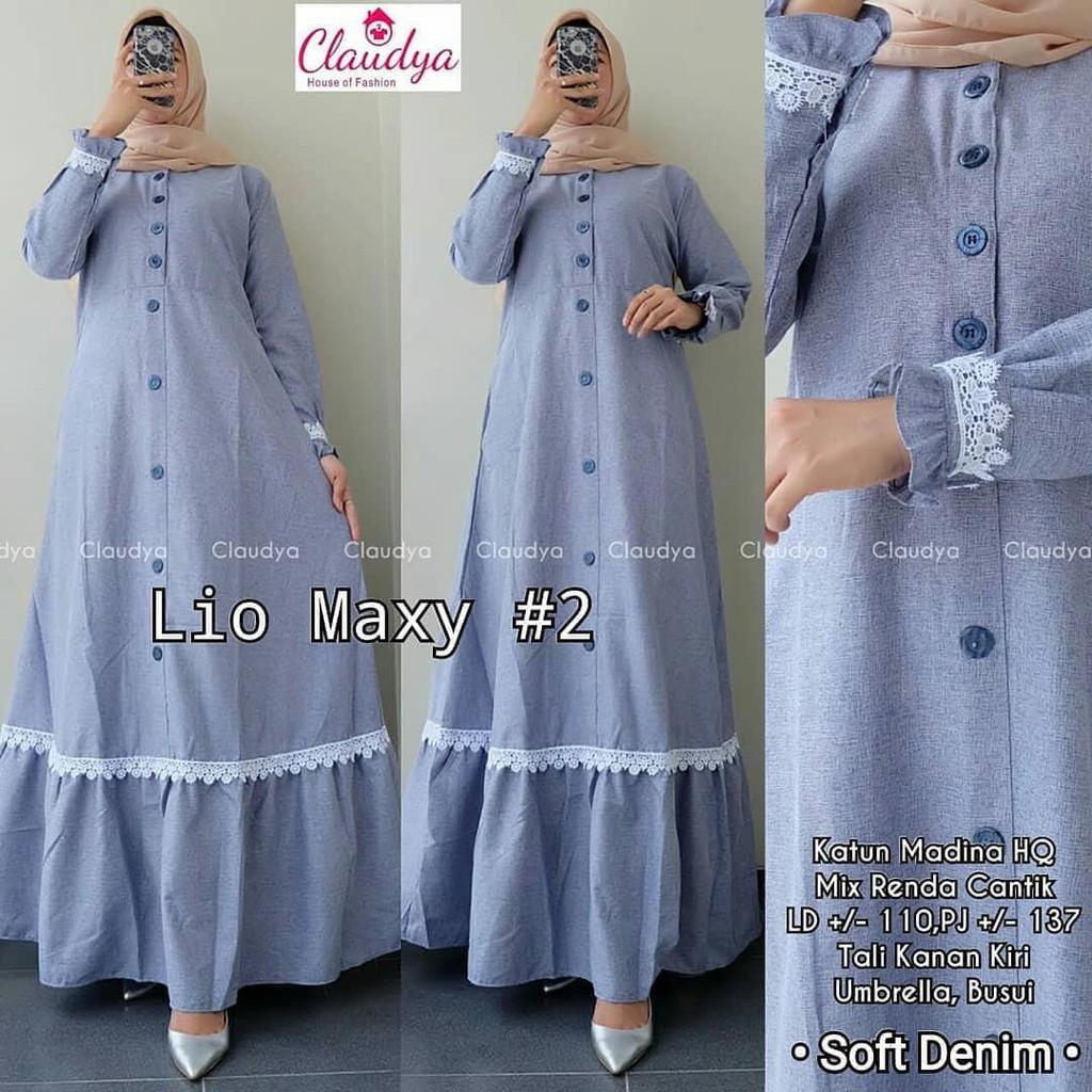 Baju Muslim Wanita Lio Maxy Dress Pakaian Muslim Wanita Terbaru 2020 Ld 100 Pb 138 Kancing Depan Gam Shopee Indonesia